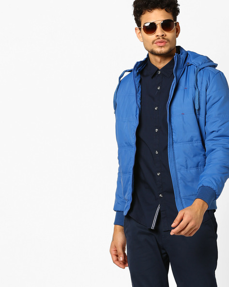 Slim Puffer Jacket With Front Zipper By Nature Casuals ( Blue )