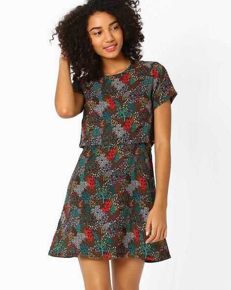 Printed Popover Dress By AJIO ( Navyblue )