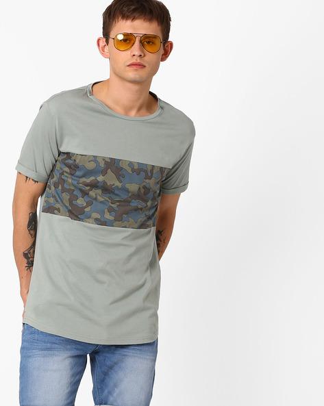 Printed Longline T-shirt By AJIO ( Green )