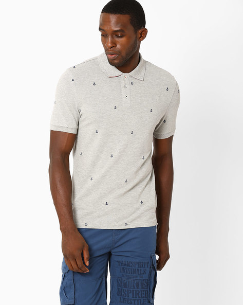Regular Fit Polo T-shirt With Embroidery By Celio ( Grey )