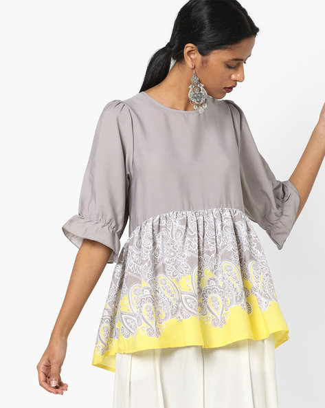 Printed Peplum Top By AJIO ( Grey )