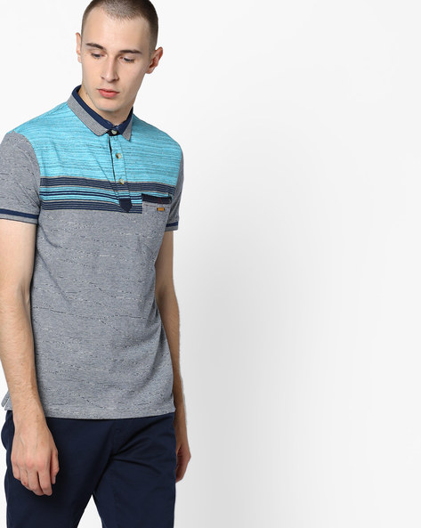Polo T-shirt With Striped Yoke By Fort Collins ( Lightturquoise )