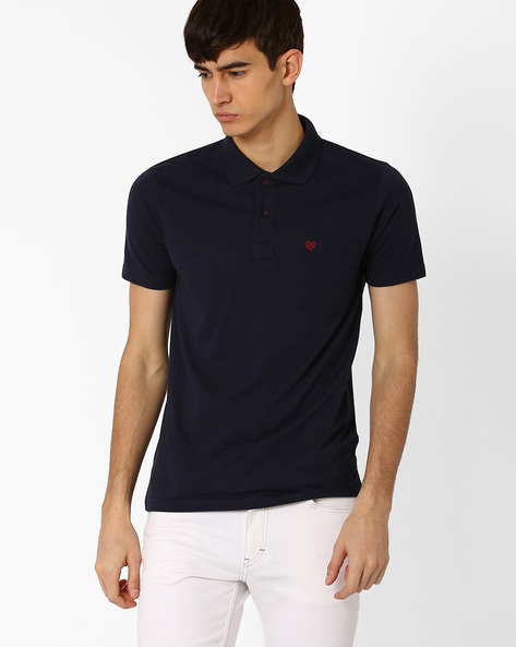 Polo T-shirt With Vented Hem By DUKE ( Navy )