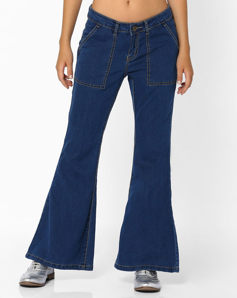 Wide-Leg Jeans With Insert Pockets By AJIO ( Lightblue )