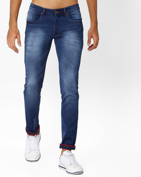 Mid-Rise Jeans With Washed Effect By DNM X ( Darkblue )