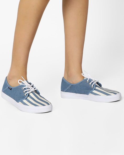 Tazie SF Striped Canvas Lace-Ups By Vans ( Blue )