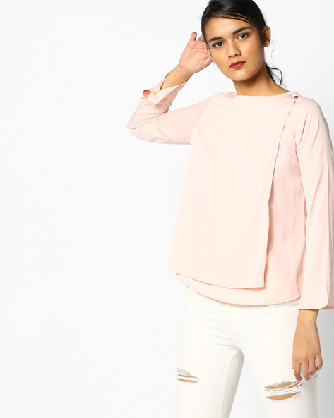 Overlap Top With Bell Sleeves By PE WW Work ( Peach )