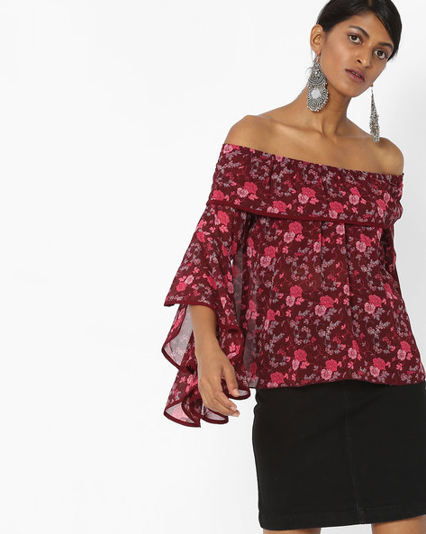 Off-Shoulder Top With Bell Sleeves By Tarama ( Maroon )
