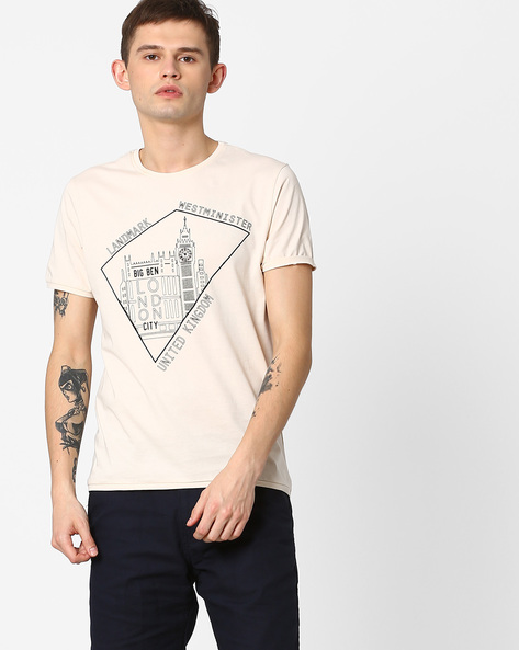 Crew-Neck T-shirt With Print By AJIO ( Pink )