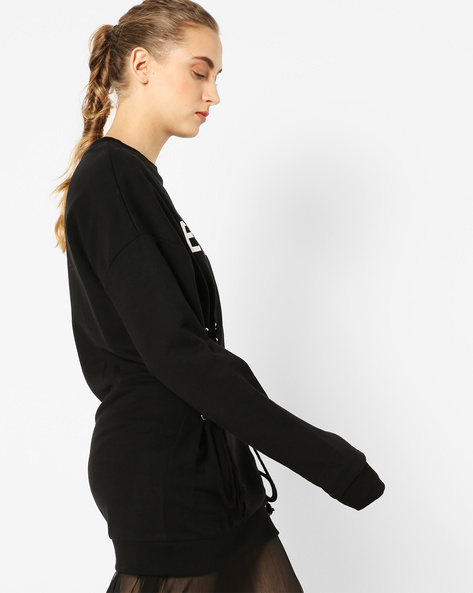 Typographic Print Sweatshirt With Tie-Up By TALLY WEiJL ( Black )