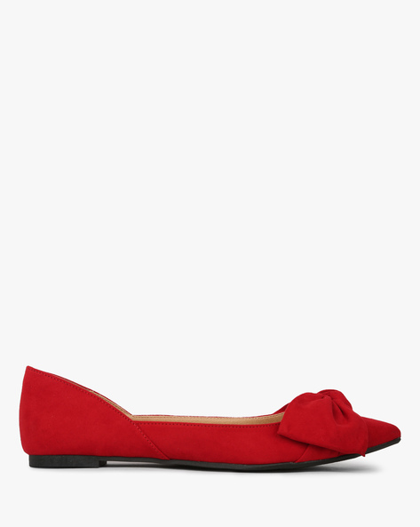 Pointy-Toe Ballerinas With Bow Accent By CHRISTIAN SIRIANO ( Red )