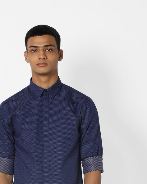 Micro Print Shirt With Concealed Placket By Jack & Jones ( Blue )