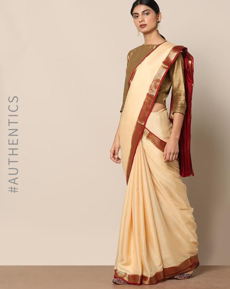 Pure Mysore Silk Crepe Striped Border Saree By Rudrakaashe-MSU ( Offwhite )