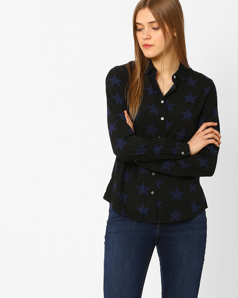 Printed Shirt With Curved Hem By LEVIS ( Blue )