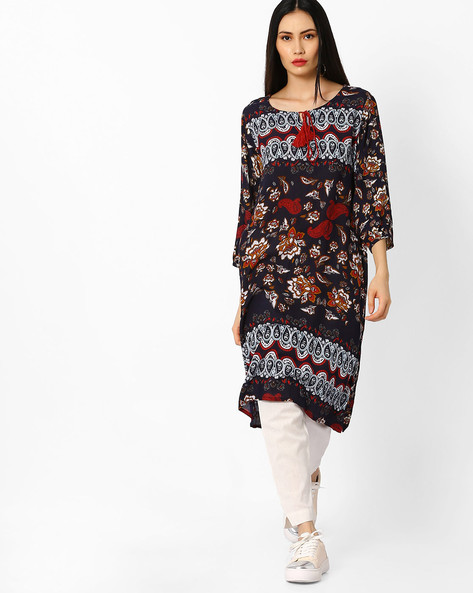 Printed Kurta With Tie-Up By Melange By Lifestyle ( Blue )