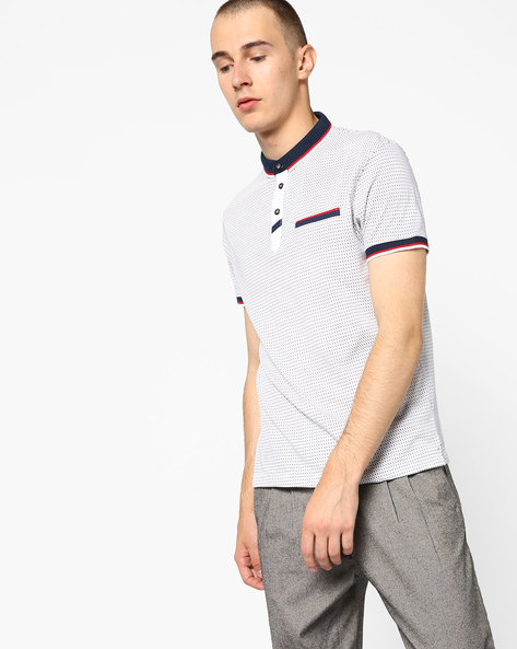All-Over Print Polo T-shirt With Slim Collar By Fort Collins ( White )