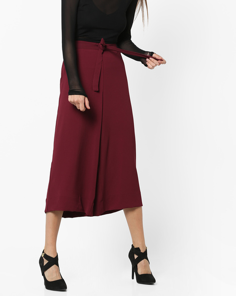 High-Waist Culottes With Tie-Up By CODE By Lifestyle ( Maroon )