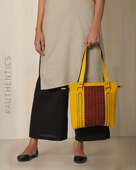 Kutch Cutwork Ajrak Leather Handbag By Indie Picks ( Yellow )