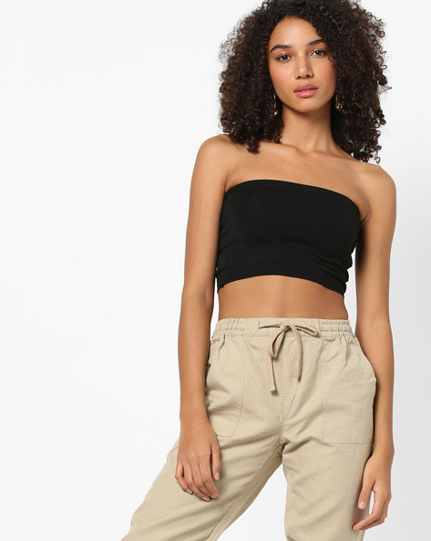 Knitted Bandeau Crop Top By Vero Moda ( Black )