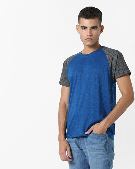 Crew-Neck T-shirt With Raglan Sleeves By DIFFERENCE OF OPINION ( Blue )