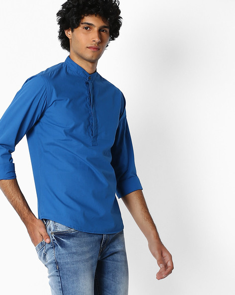 Slim Fit Poplin Shirt With Mandarin Collar By AJIO ( Teal )