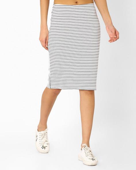 Striped Pencil Skirt By Vero Moda ( White )
