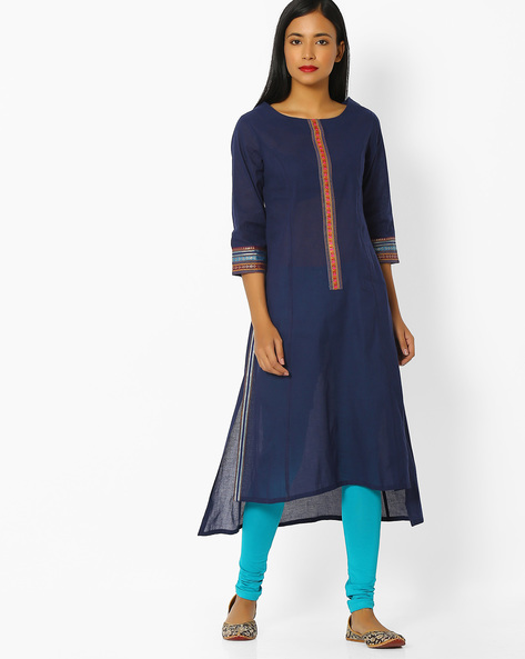 High-Low Kurta & Churidar Set By AVAASA SET ( Blue )