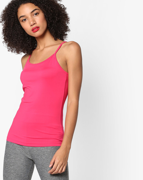 Spaghetti Top With Adjustable Straps By Project Eve WW Athleisure ( Pink )