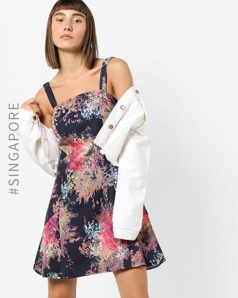 Floral Print Strappy Skater Dress By MDS ( Black )