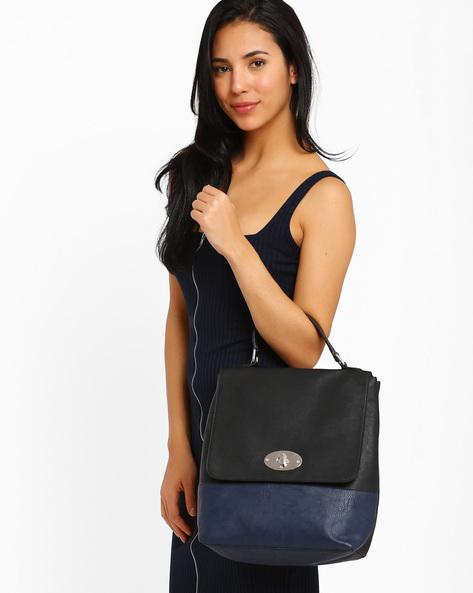Faux Leather Handbag By AJIO ( Black )