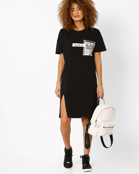 Sweatshirt Dress With Printed Pocket By AJIO ( Black )