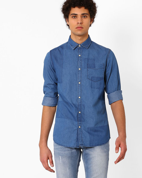 Slim Fit Denim Shirt By ADAMO LONDON ( Lightblue )
