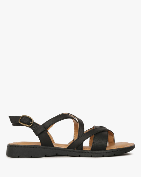 Strappy Flat Sandals With Buckle Closure By COMFORT PLUS ( Black )