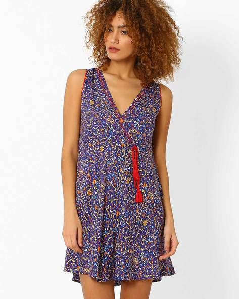 Floral Print Fit & Flare Dress By AJIO ( Blue )