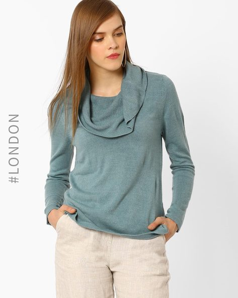 Cowl-Neck Pullover By Marks & Spencer ( Seagreen )