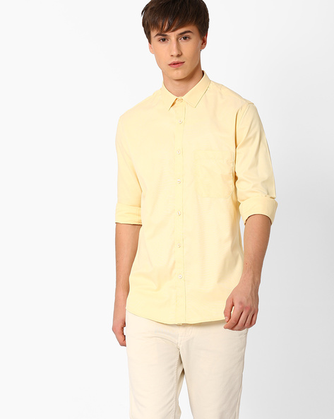 Slim Fit Shirt With Patch Pocket By British Club ( Yellow )