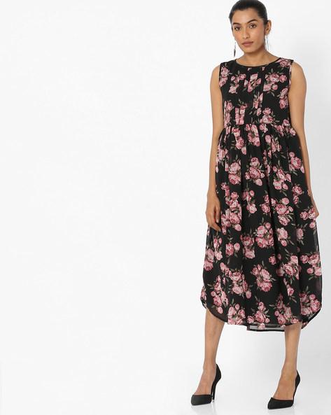 Floral Print A-line Dress By Bitterlime ( Black )