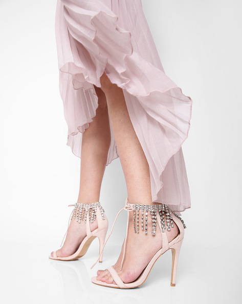 Ankle-Strap Stilettos With Embellishments By Truffle Collection ( Nude )