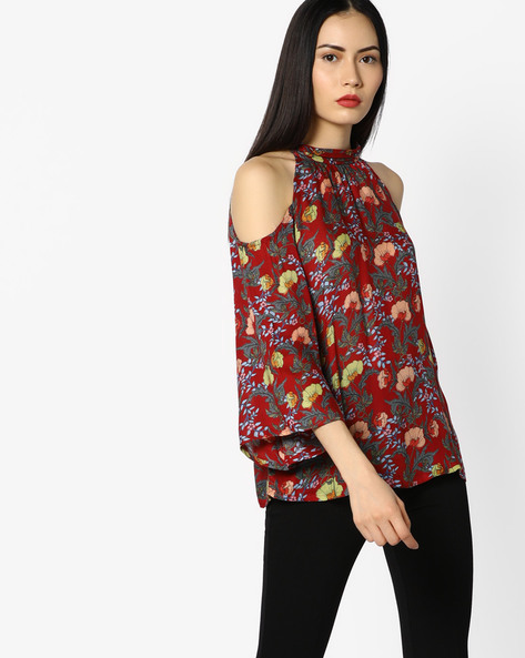 Floral Print Top With Cold-Shoulders By CODE By Lifestyle ( Wine )