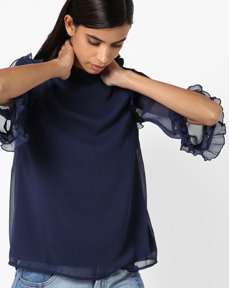 Sheer Top With Ruffled Trims By Oxolloxo ( Navy )
