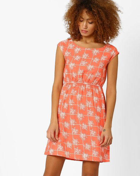 Printed A-line Dress With Cap Sleeves By Honey By Pantaloons ( Coral )