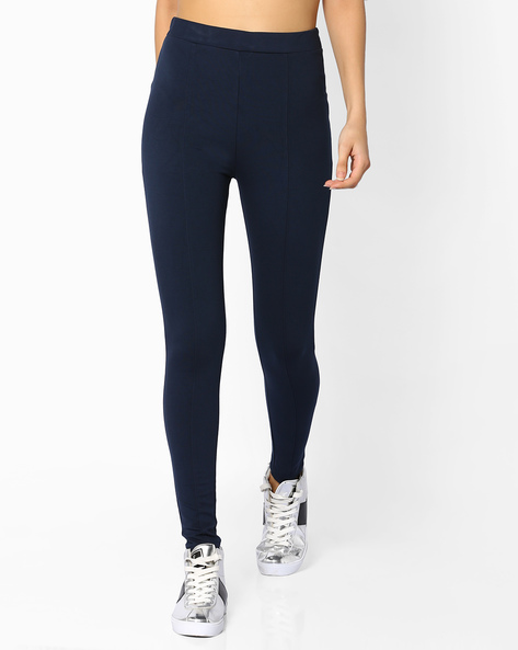 Panelled Leggings With Elasticated Waist By CODE By Lifestyle ( Navy )