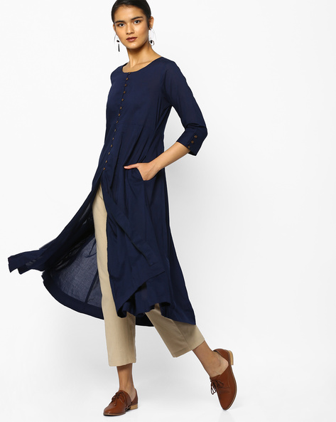 A-line Kurta With Front-Slit Hem By PE IW Casual ( Indigo )