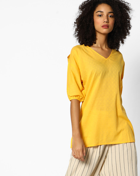 Woven Tunic With Cut-Out Sleeves By AJIO ( Yellow )
