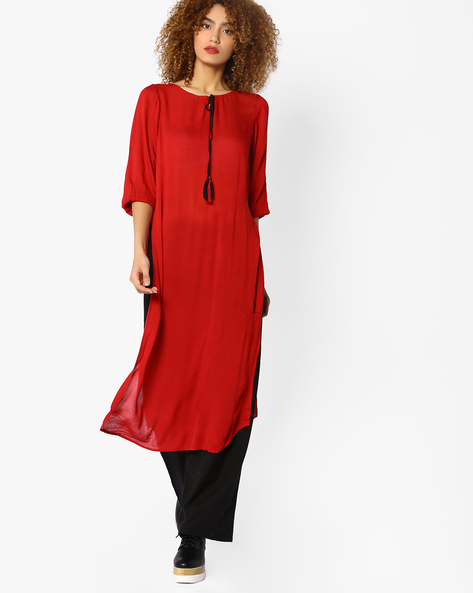 Straight Kurta With Tie-Up By Melange By Lifestyle ( Red )