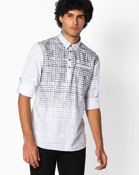 Printed Slim Fit Shirt By The Indian Garage Co ( Grey )