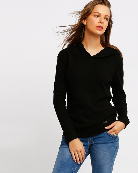 Hooded Sweatshirt With Ribbed Cuffs By TEAM SPIRIT ( Black )
