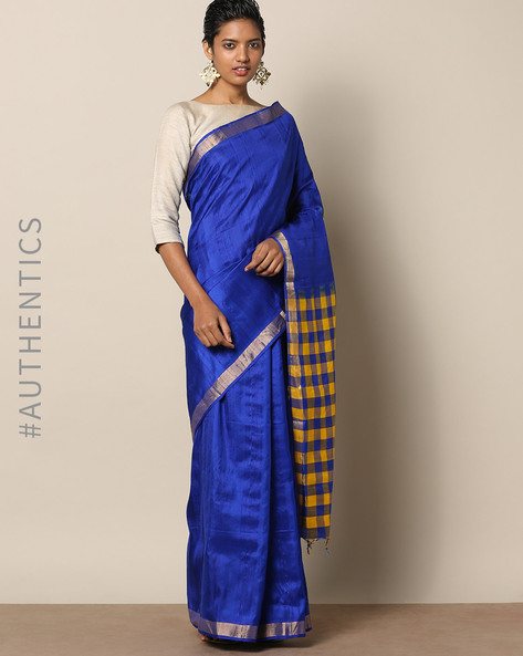 Pure Silk Dupion Checked Saree By Rudrakaashe-MSU ( Blue )