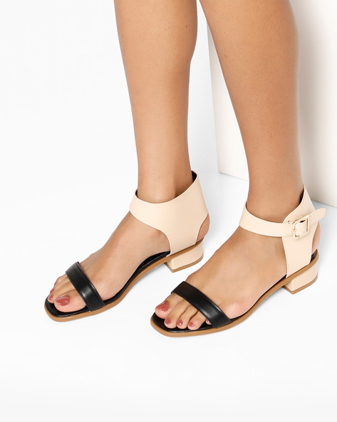 Colourblock Ankle Strap Flat Sandals By MFT Couture ( Black )