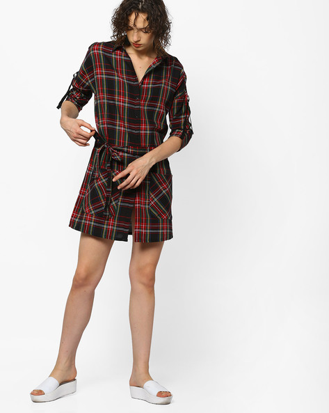 Checked Shirt Dress By RIO ( Red )